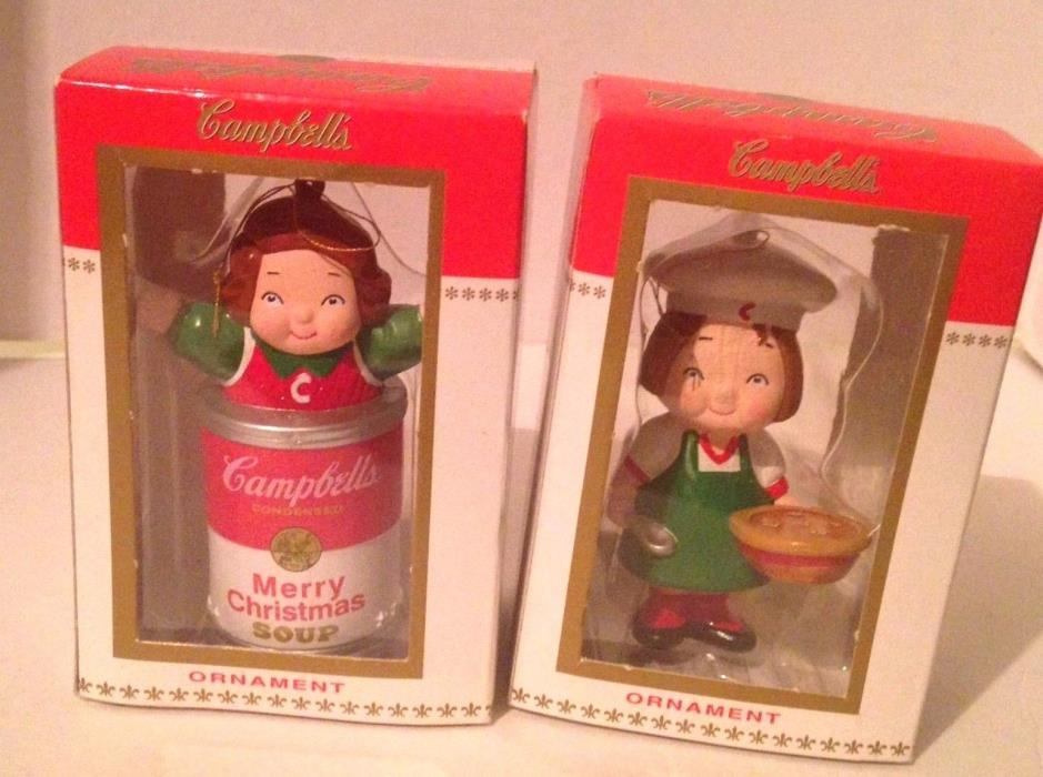 2 x 1998 Kurt S Adler Boxed Campbell's Kids Christmas Ornaments Soup Advertising