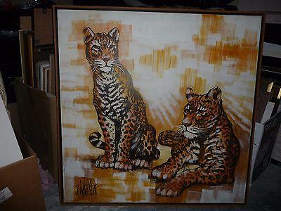 Original large canvas painting framed signed J Wallker 2 leopards mid century