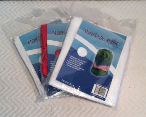 (3) White/Red  MESH LAUNDRY BAGS Extra Large Drawstring Easy Carry Handle 36x24