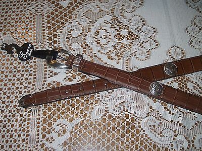 Auburn Tigers Tan Brown Croco Leather Conchos Belt NEW Size 44