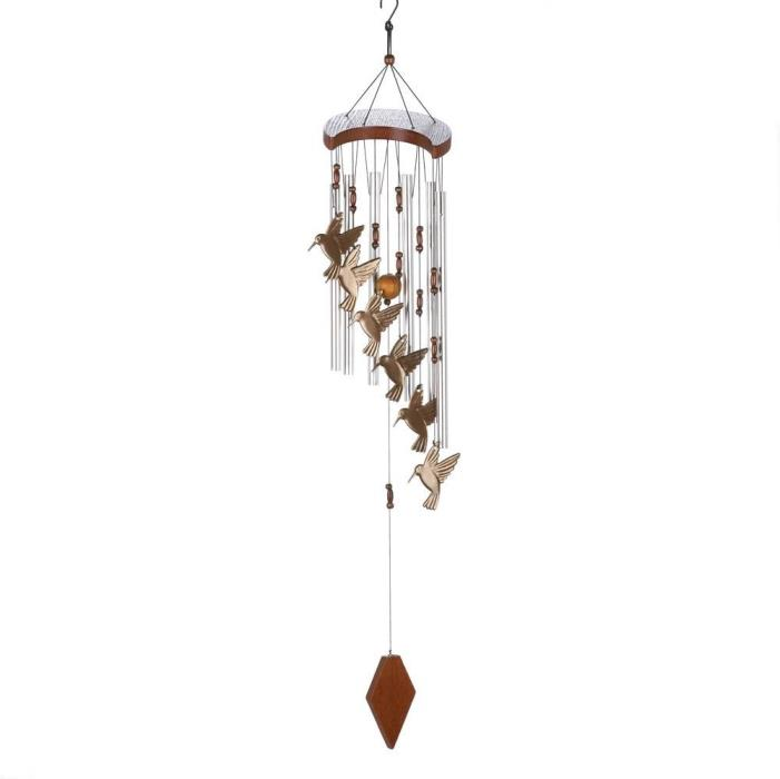 Hummingbird flutter Windchime gorgeous beads metal chimes wooden accents magical