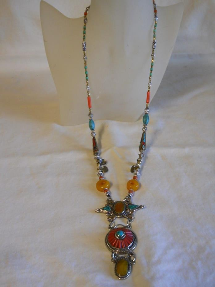 long southwest necklace turquoise,coral and amber