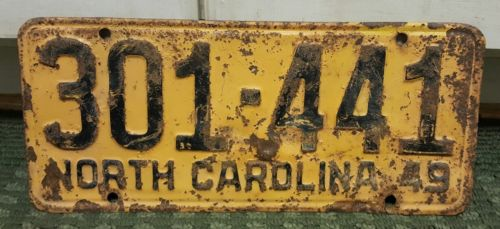 1949 North Carolina License Plate