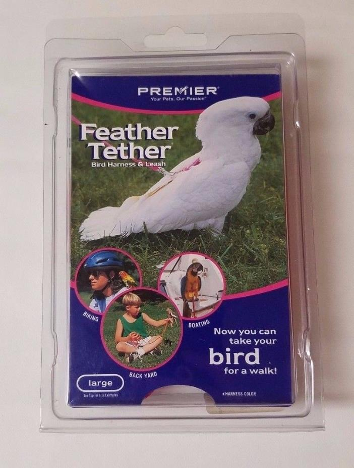 Premier Feather Tether - Bird Harness and Leash - LARGE RED - NEW