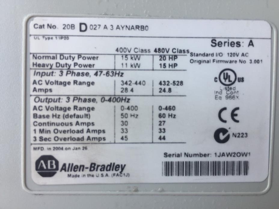 Allen-Bradley 20BD027A3AYNARBO 20 HP PowerFlex 700 VS Drive 480V Series: A