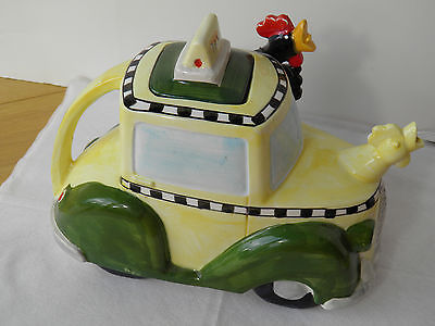 BRYAN McNUTT TEAPOT IN THE FORM OF A TAXI DRIVEN BY A CHICKEN-DEPARTMENT 56