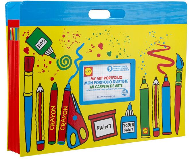 Kid's Art Portfolio, yellow. Oversized accordian style case for Kids' creations
