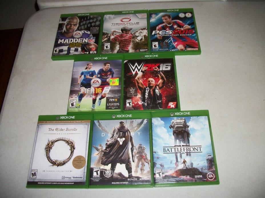 8 XBOX ONE Games! Madden Battlefront Destiny FIFA Golf Club PES 15 Elder Scrolls