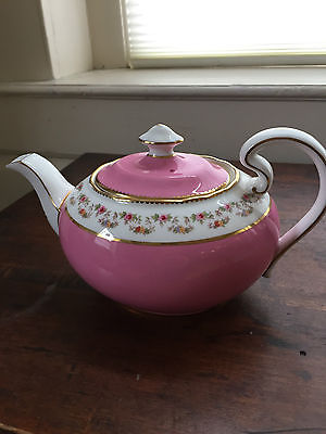 Aynsley Teapot Pink with Flowers Gold Trim