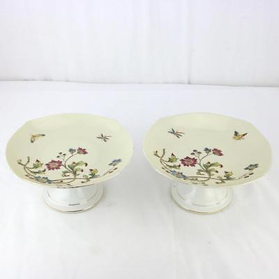 Pair Old Paris Porcelain Antique Compotes Dinner Service, Painted Gilt Flowers