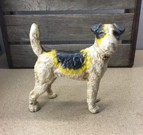 Hubley Style Cast Iron Fox Terrier Dog Doorstop Bank Door Stop