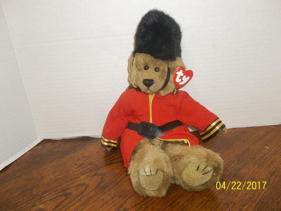 TY ATTIC TREASURES MALCOLM DRUMMER MAJOR BROWN TEDDY BEAR PLUSH BEANIE BABY