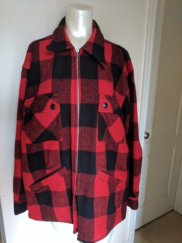Vintage Windward Outdoor Clothing Macinaw Plaid Wool Hunting Jacket Size L EUC