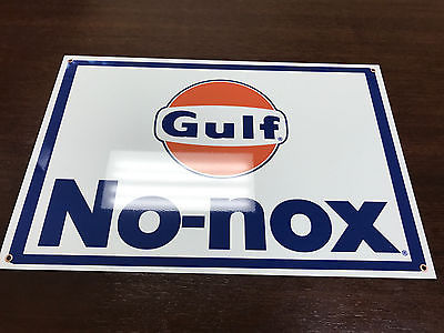 Gulf advertising gasoline oil sign vintage baked large 12x18 inch