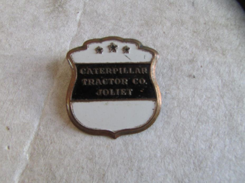 Vintage Caterpillar Tractor Company Employee Badge WHITE SHIELD JOLIET PLANT