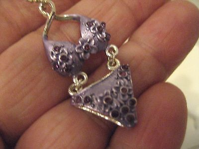 NEW Fashion Jewelry PURPLE BIKINI Necklace Metal Enamel Crystals Silver 16-18