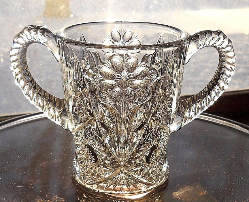 Vintage Daisy Sugar Dish Imperial Glass Hobstar Flower Nearcut Handle Crystal