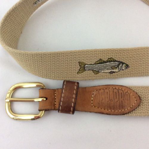 Zep Pro Embroidered Tan Canvas Leather Belt Mens 42 Striped Bass Made in USA