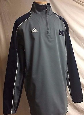 Men's Adidas Climalite Workout Pullover Training Jacket Gray UofM block M emblem