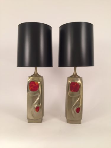 Pair Mid-Century Modern Gold Metal Lamps