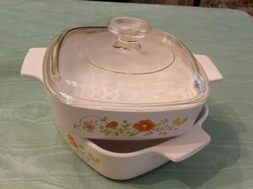 2 Corning Ware 1 qt Casserole Dishes Oven Freezer Stovetop & 1 lid Wild Flower