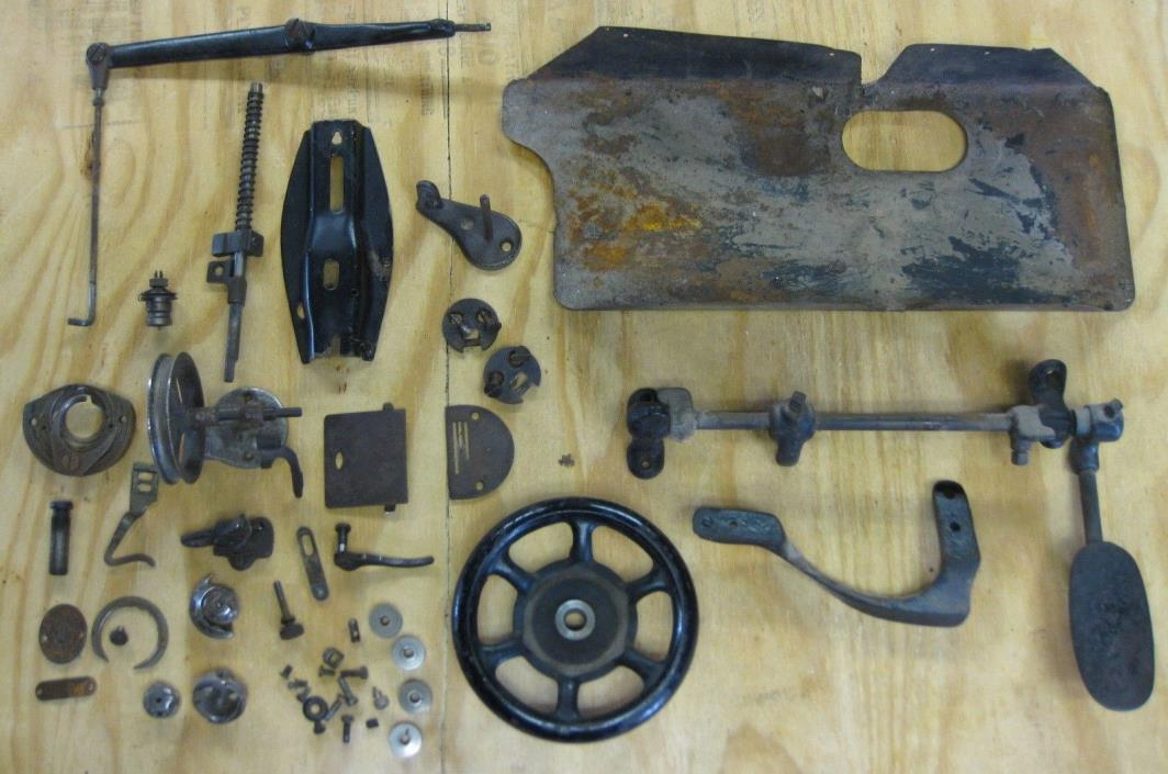 ANTIQUE SINGER SEWING MACHINE PARTS lot from 31 15 1919 OLD TREADLE wheel & more