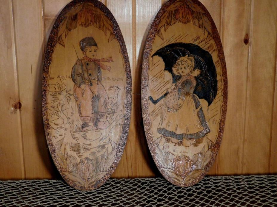 Antique FLEMISH ART Pyrography / Woodburning Wall Plaques Dutch Children #953 -