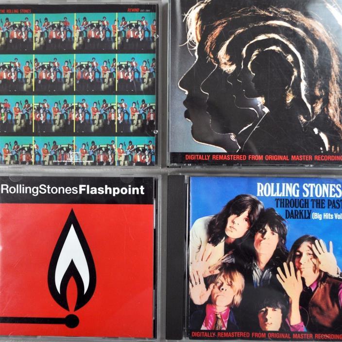 Rolling Stones 4 CD Lot Hits Live Hot Rocks Rewind Thru Past Darkly Flashpoint
