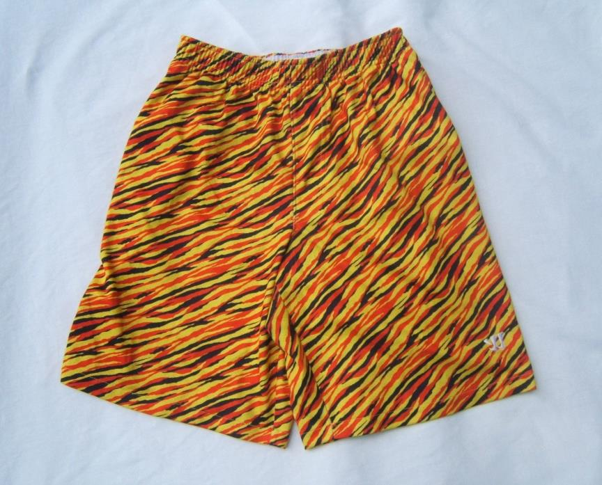 Men's M Warrior Lacrosse Crazy Shorts Gym Pockets Yellow Red Black EUC