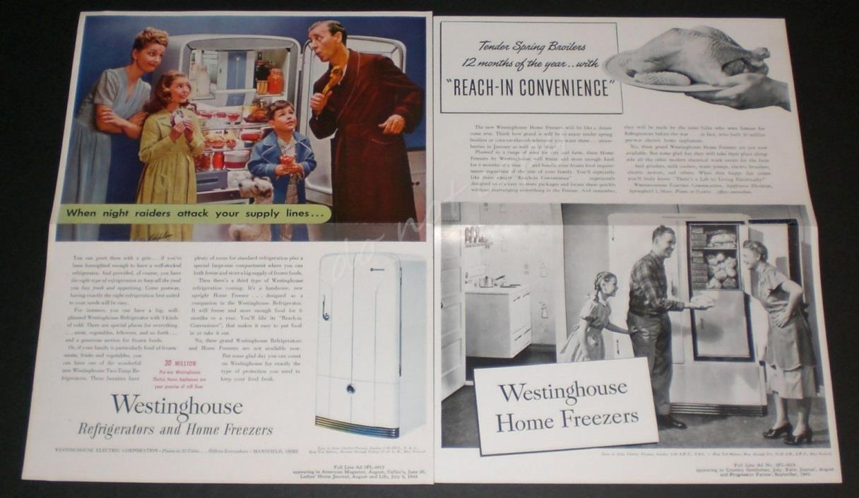 Westinghouse Refrigerator Home Freezer 2 1945 Vintage Advertising Tear Sheet