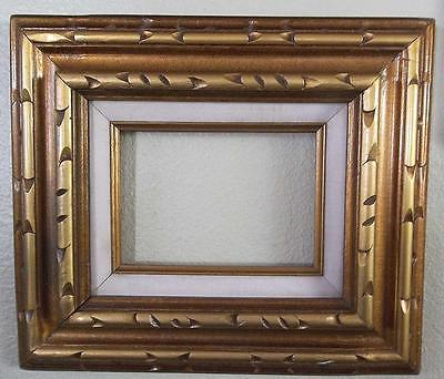 Vintage 1970's Wood Carved Picture Frame Canvas Mirror Gold Gilt Mexico 12