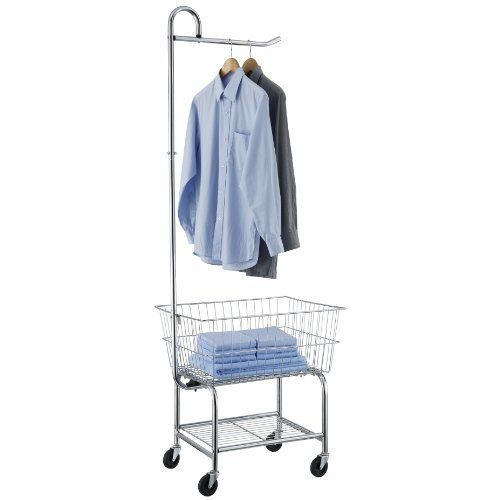 Commercial Laundry Cart on Wheels Chrome Laundromat Basket Clothes Hanging Rack