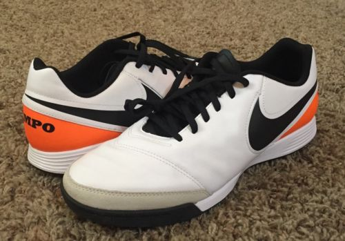 Nike Tiempo Genio II Leather TF Turf Soccer Shoes White Black Orange NEW Mens 10