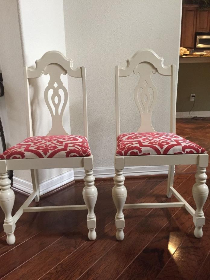 Set of White and Red Vintage Chairs Early 1900's