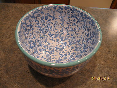 Blue & White Spongeware Serving Bowl with green trim Made In Italy