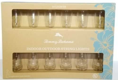 Tommy Bahama Indoor Outdoor Rustic Edison Bulb 10 Ct String Lights with 2 Spares
