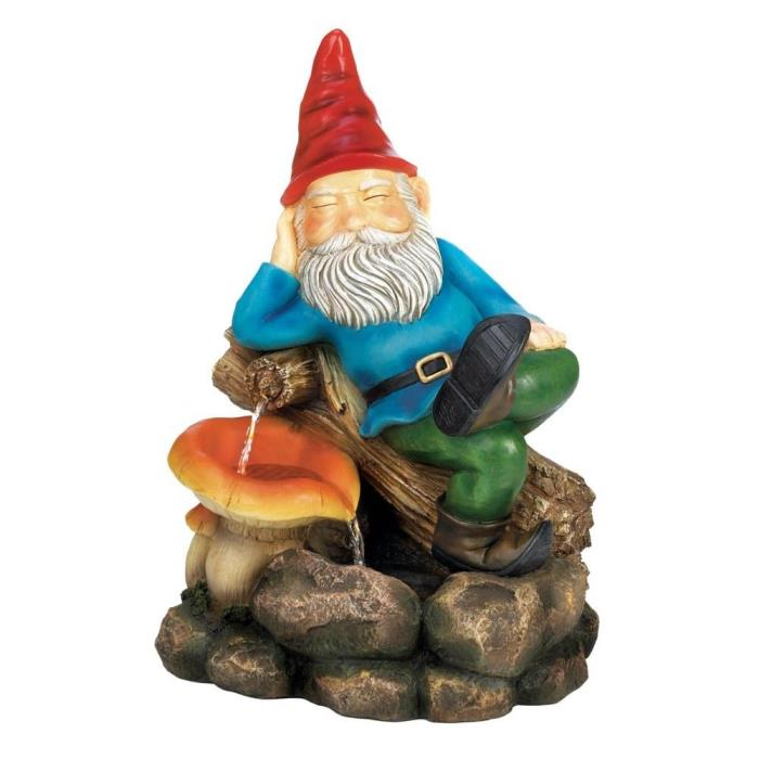 Relaxing Gnome Water Fountain a gnome happy to kick back rest by mushroom