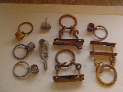 Lot of Vintage SINGLE TREE parts horse drawn blacksmith cast iron hardware tools