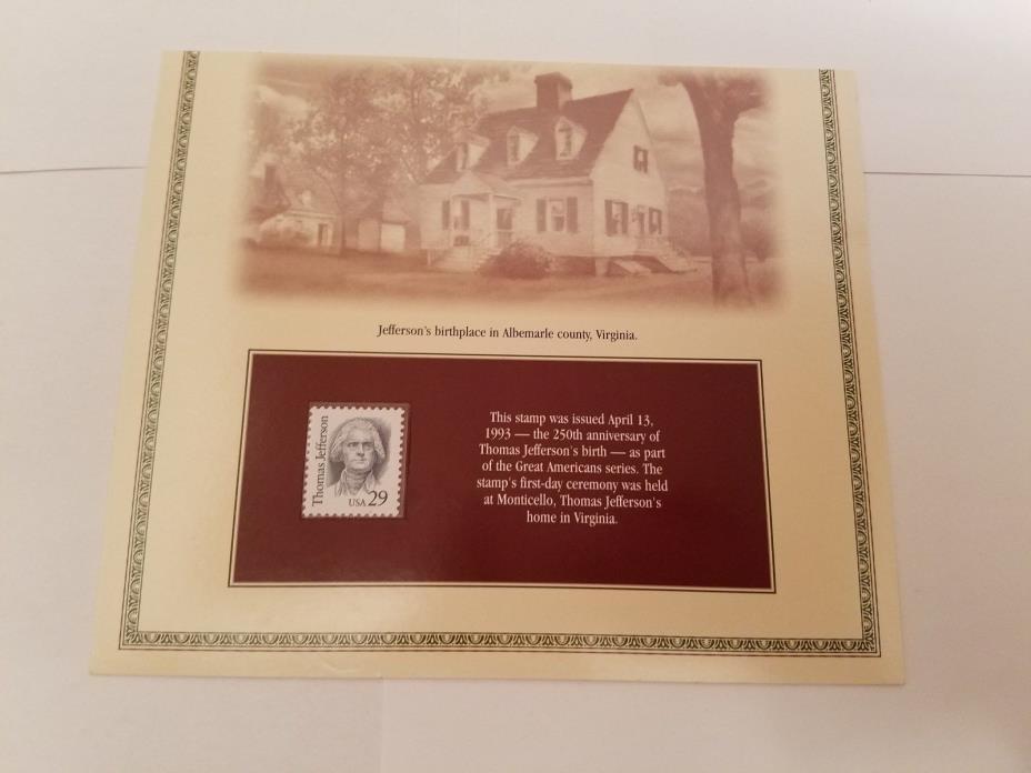 1993 Thomas Jefferson 29 Cent Stamp **FREE SHIPPING**