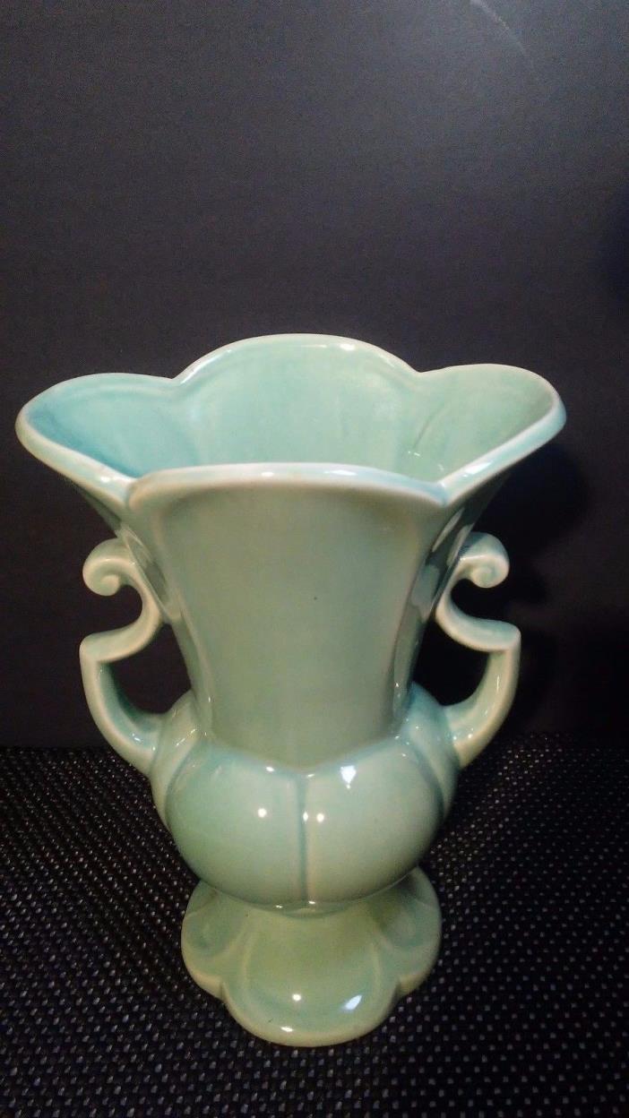 Vintage Shawnee pottery vase seagreen USA