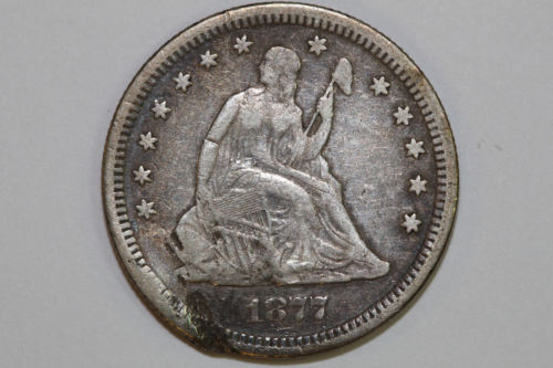 Grades NET Fine 1877 S Damaged Liberty Seated 90% Silver Quarter (SLQ410)