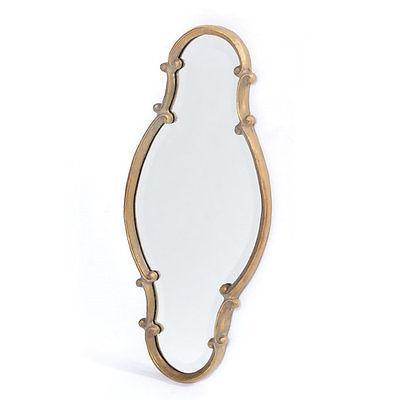 Fleur De Lis Living Antiqued Vertical Gold Iron Mirror