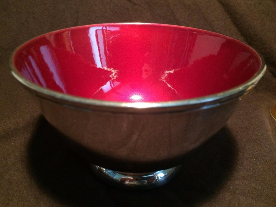 Towle Silverplate EP 5001 Small Red Enamel Footed Bowl - Good Vintage Condition