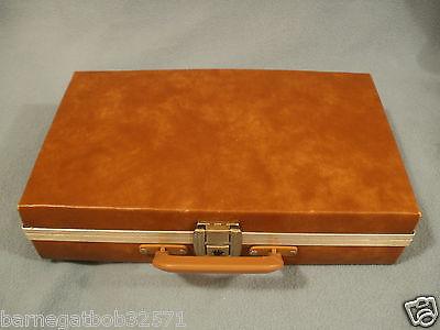 Vintage Saddle Brown Cassette Tape Storage Case Organizer Holds 24 Tapes U.S.A.