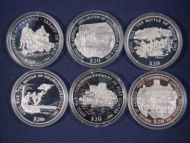 FIVE(5)  2000 + ONE 2001  Republic of Liberia .999 Fine Silver 20 Dollar Coins