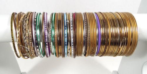 70 Bracelets Metal Bangles Assorted Colors Vintage Modern Estate Lot