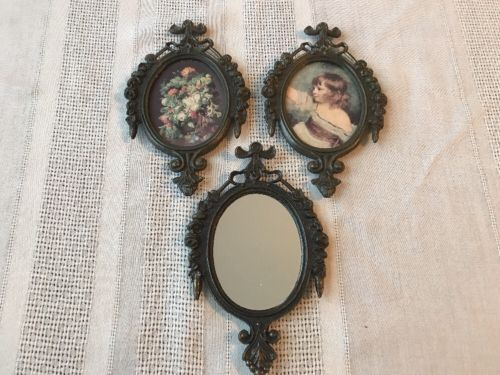 Lot 3 Vintage Ornate Brass Picture Frames Child Flowers Mirror Made In Italy