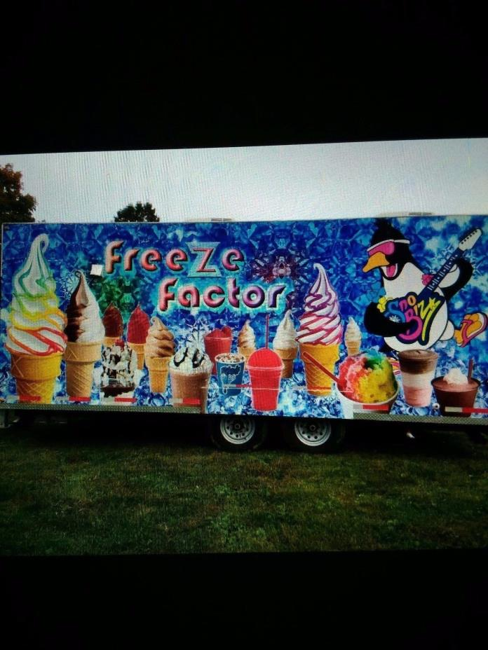 Blue ice cream concession trailer, 8x20, 2 Taylor soft serve machines, flavorbur