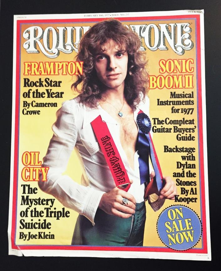 Vintage Original Peter Frampton Poster Rolling Stone Magazine Promo Display Rare