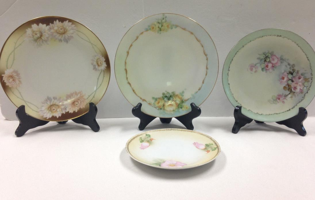 Lot of 4 Antique Handpainted Cabinet Plates Bavaria Germany